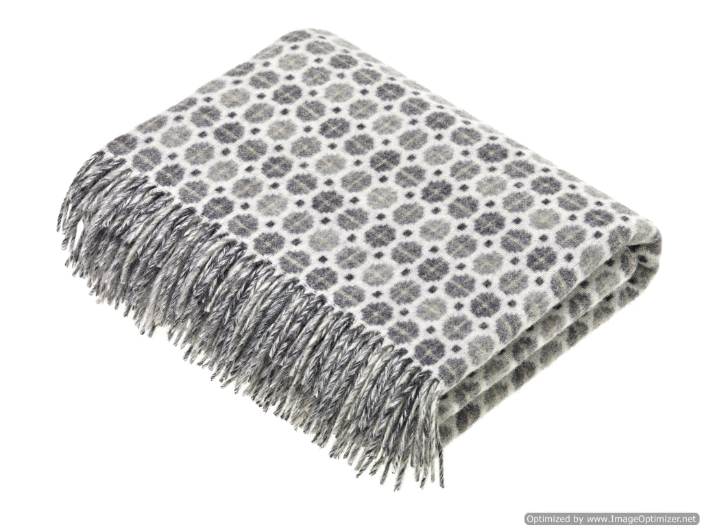 Merino Lambswool Throw Blanket - Milan - Gray, Made in England