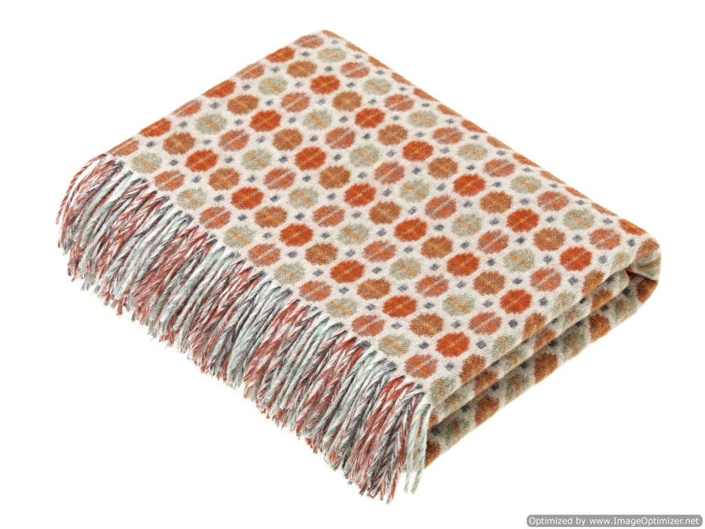 Merino Lambswool Throw Blanket - Milan - Saffron - Burnt Orange, Made in England