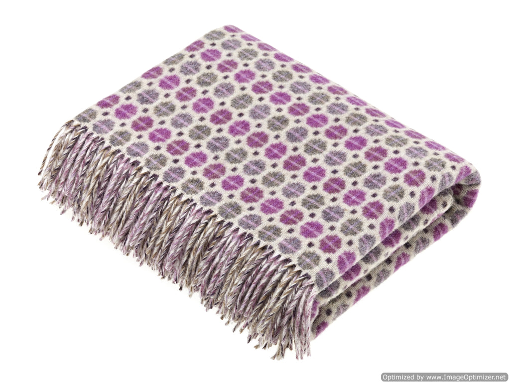 Merino Lambswool Throw Blanket - Milan - Clover, Made in England