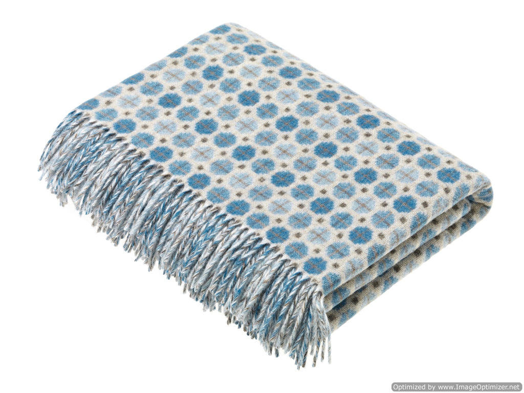Merino Lambswool Throw Blanket - Milan - Sky / Aqua, Made in England
