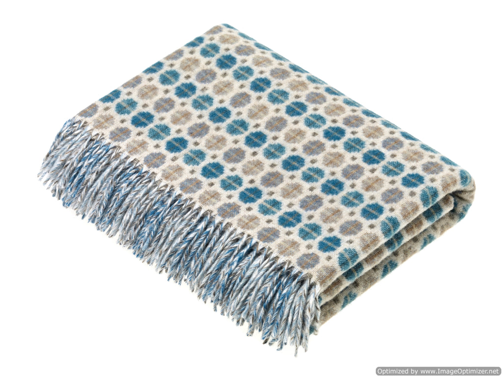 Merino Lambswool Throw Blanket - Milan - Eucalyptus, Made in England