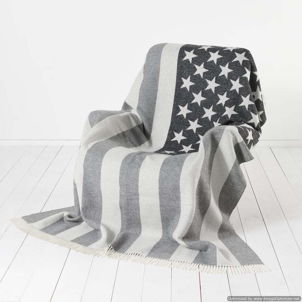 The American Flag - Stars & Stripes - Old Glory - Star Spangled Banner - Monochrome Throw Blanket
