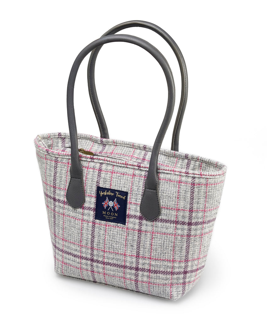 Grey/Multi Check Tote Bag - Bronte by Moon