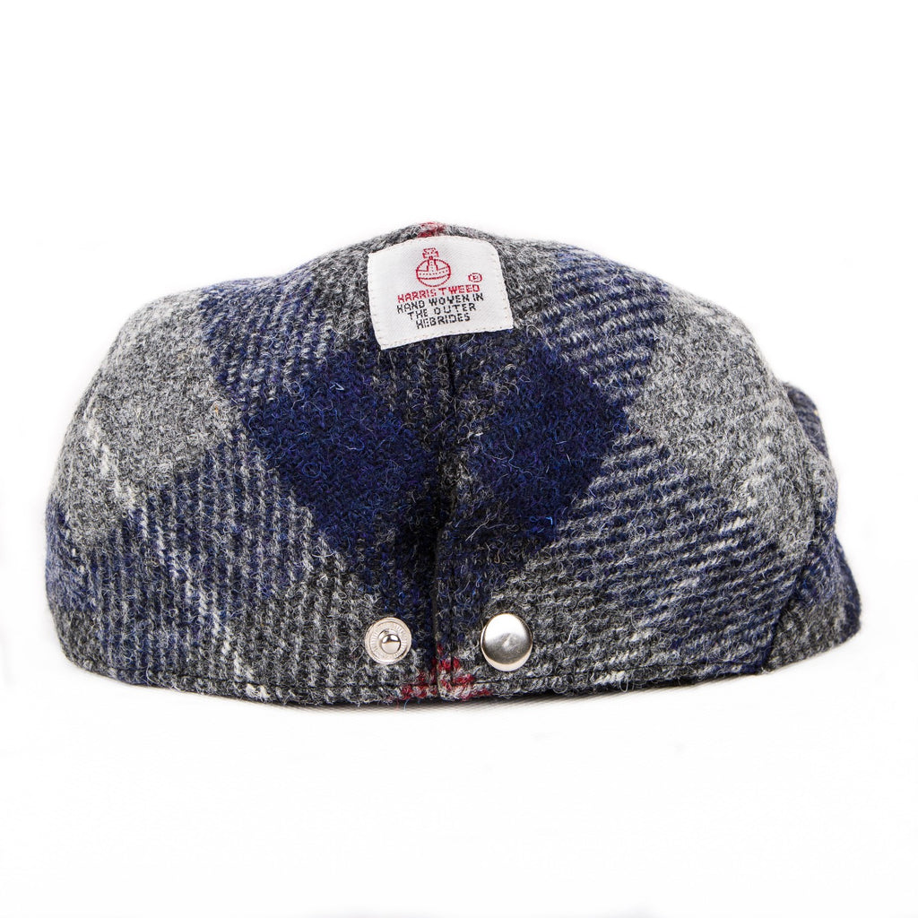 Harris Tweed Flat Cap Hat - Plaid Navy & Gray - Unisex - Bronte Moon