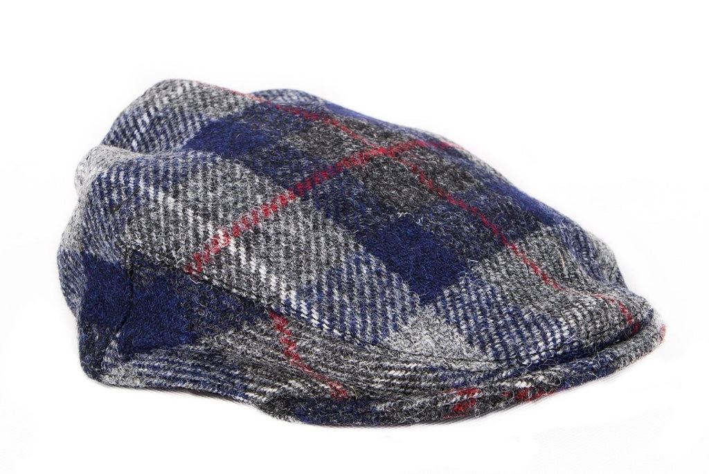 Harris Tweed Plaid Flat Cap Hat - Navy & Gray - Unisex - Bronte Moon