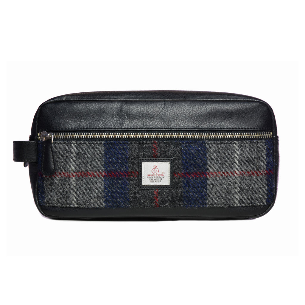 Harris Tweed - Dopp Kit - Toiletry Bag - Wash Kit - Plaid Navy & Gray