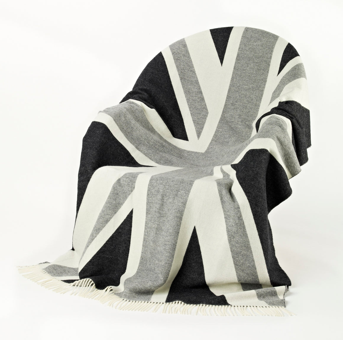 Union Jack Merino Lambswool Throw Blanket - Monochrome