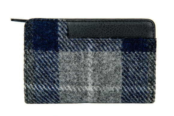 Harris Tweed - Zip Purse - Plaid Navy & Gray