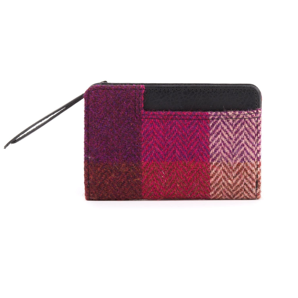 Harris Tweed - Zip Purse - Pink Squares