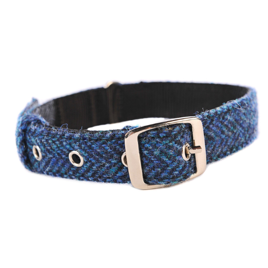 Harris Tweed - Dog Collar - Blue Herringbone