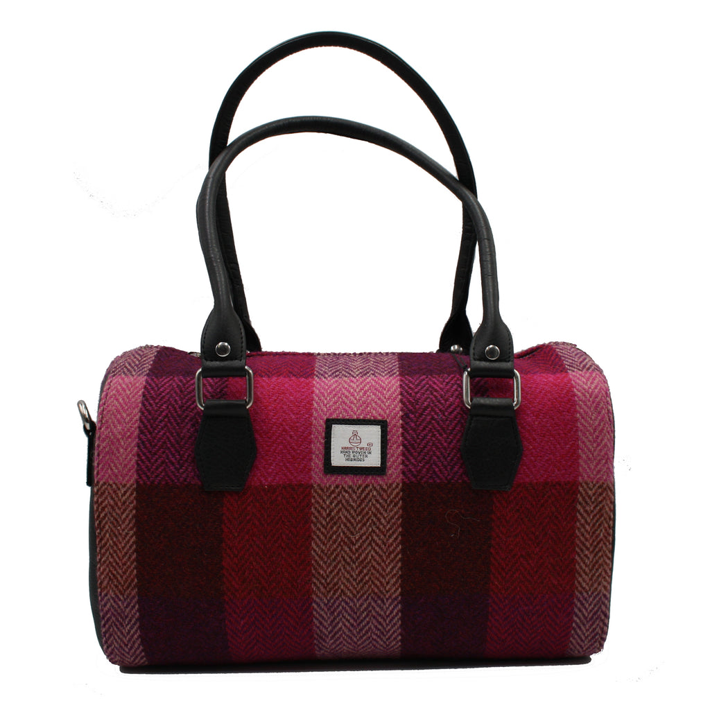 Harris Tweed - Handbag - Bowling Bag - Pink Squares