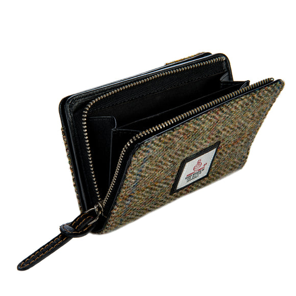 Harris Tweed - Zip Purse - Moss Green
