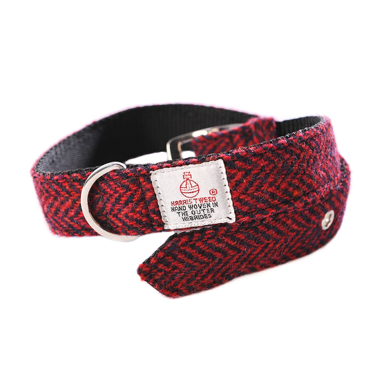 Harris Tweed - Dog Collar - Red