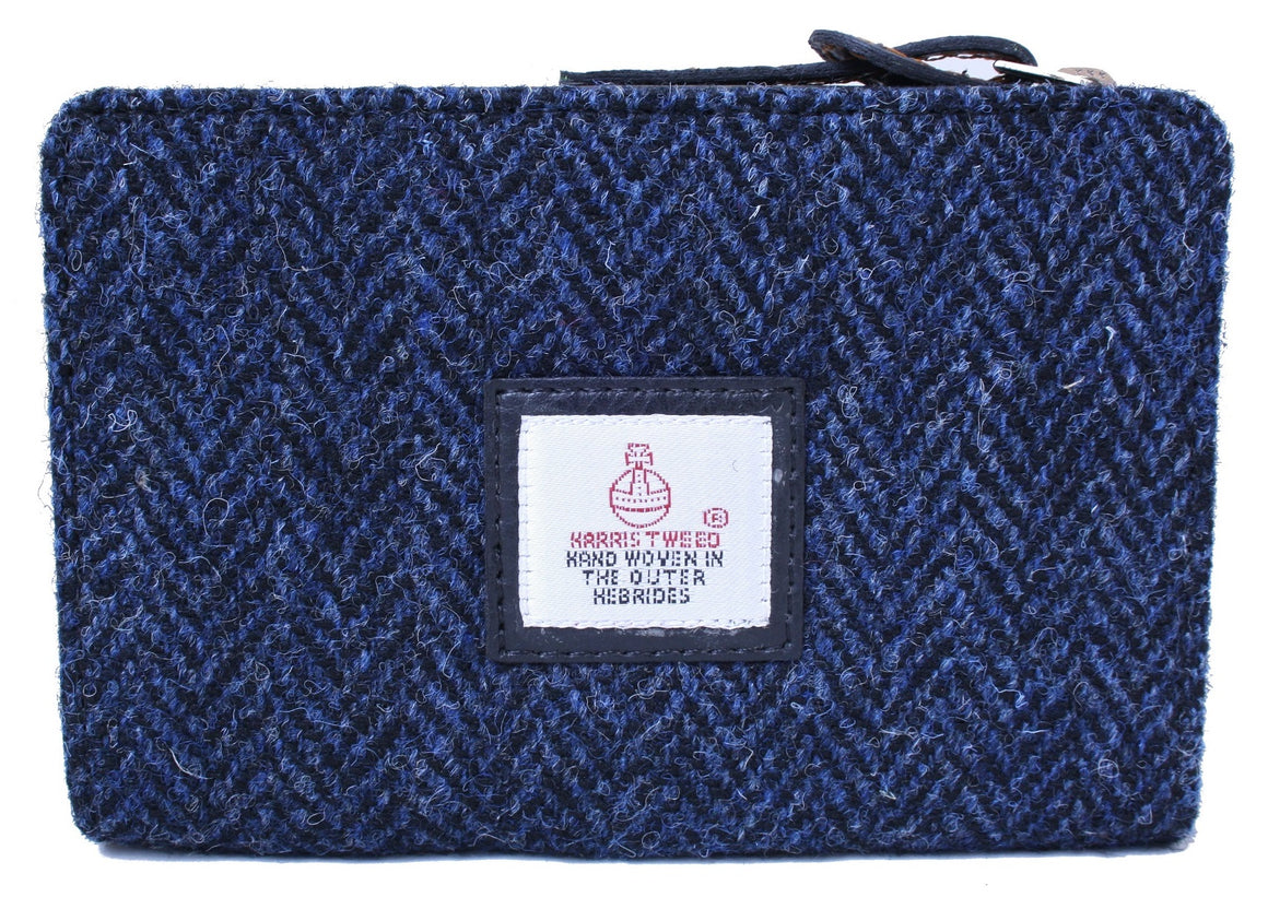 Harris Tweed - Zip Purse - Blue Herringbone