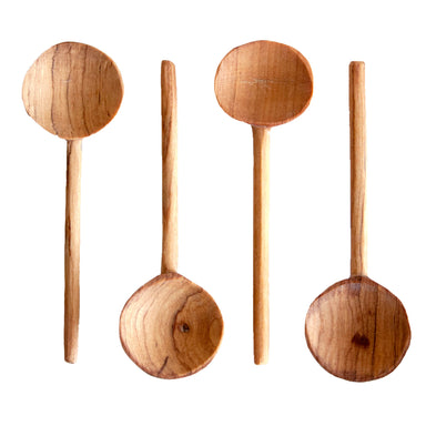 Set of 4 Hand Carved Olive Wood Coffee Spoons
