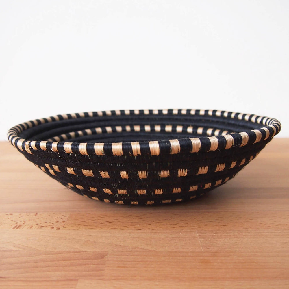 Hand Woven Butamwa Basket - Black and Tan