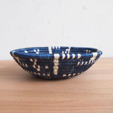 Hand Woven Kigembe Basket - Navy, Small