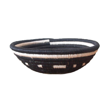 Hand Woven Mabanza Basket - Black and White, Small