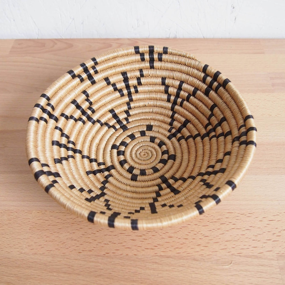 Hand Woven Mugusa Basket - Tan and Black, Small