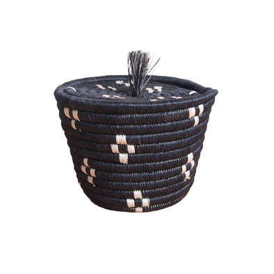 Hand Woven Munazi Lidded Tassel Basket - Black and White