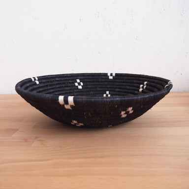 Hand Woven Munazi Basket - Black and White, Small