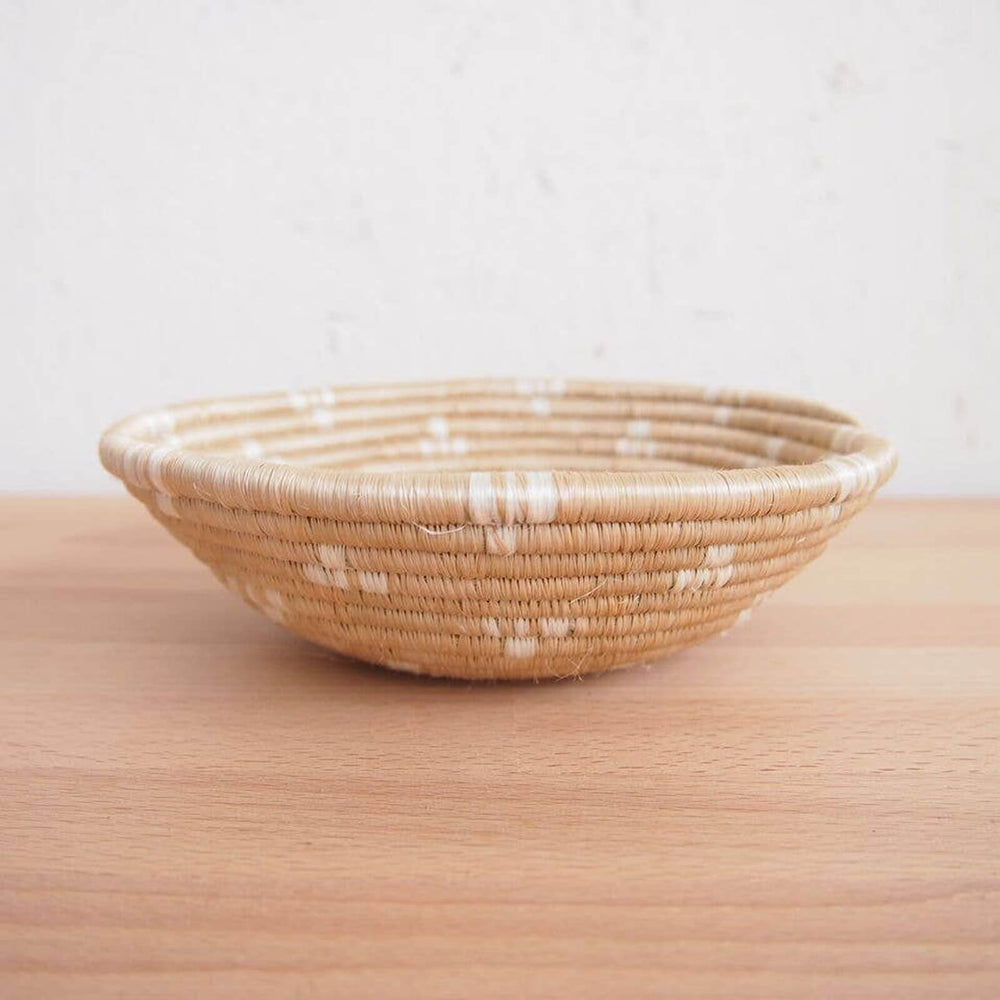 Hand Woven Ntamba Basket - Tan and White, Small