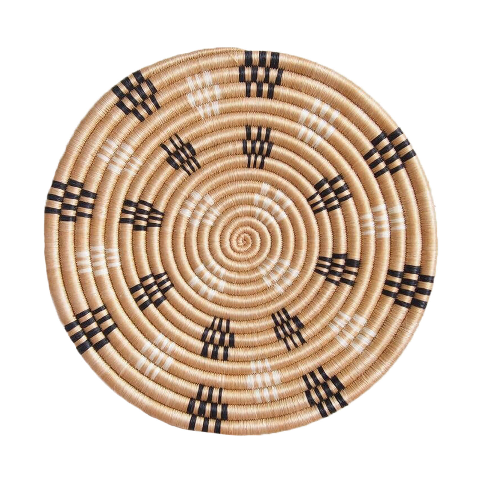 Hand Woven Rugombo Trivet - Tan, Black and White
