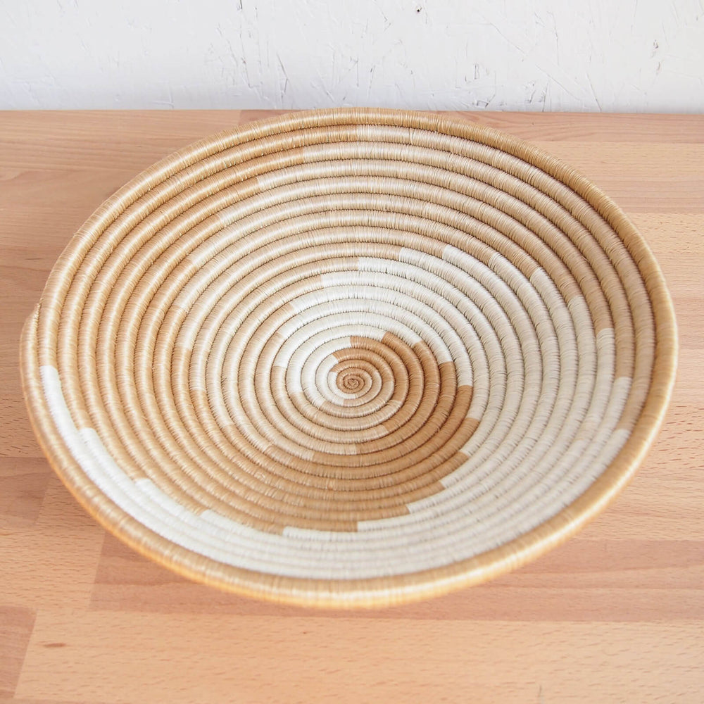 Hand Woven Sokoke Basket - Tan and White
