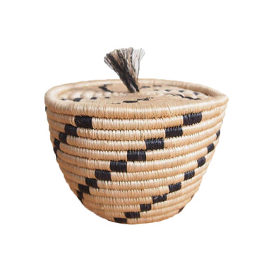 Hand Woven Tanga  Lidded Tassel Basket - Tan and Black