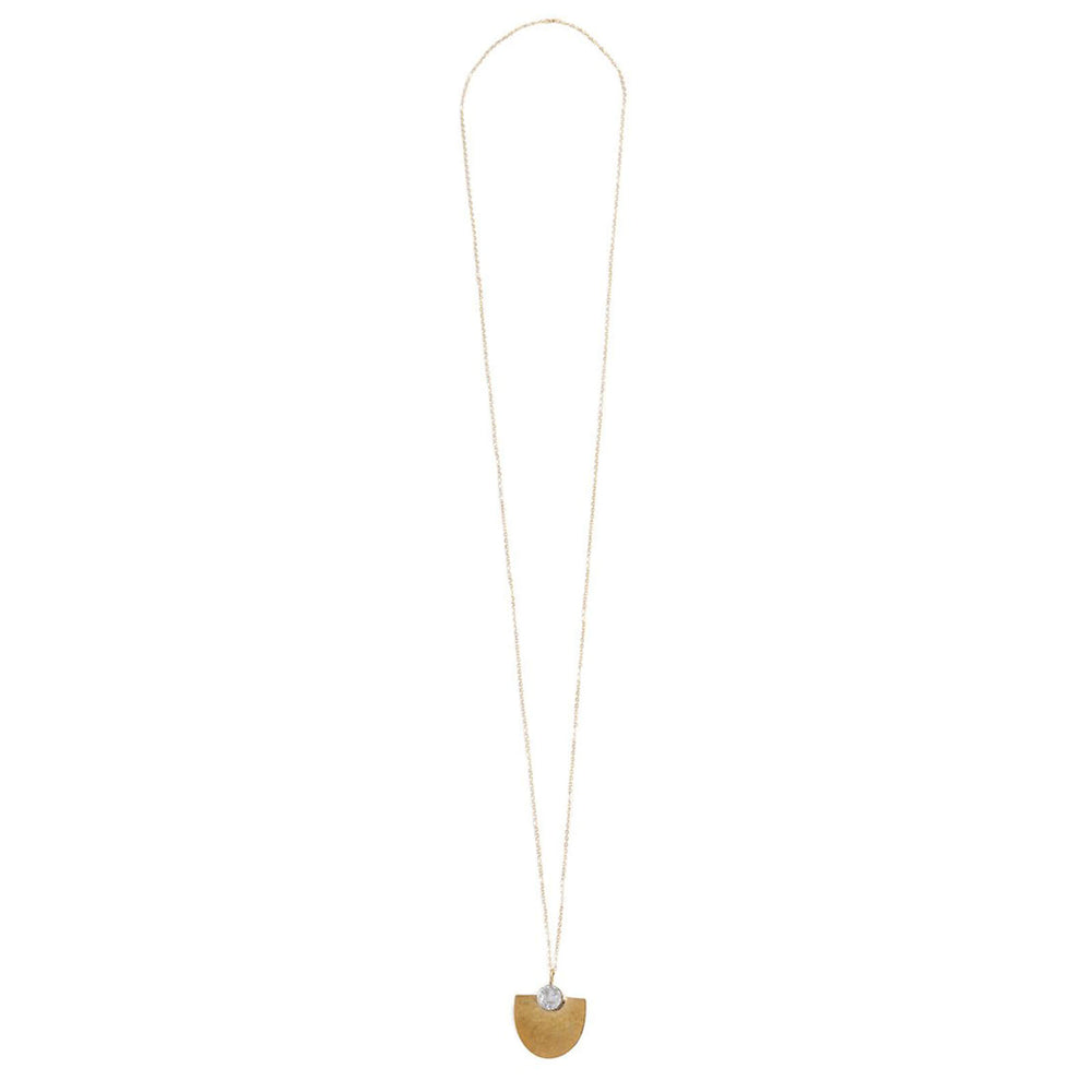 Aquila Necklace, Brass and Druzy, White