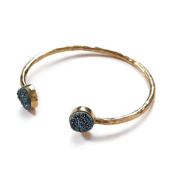 Astra Cuff Bracelet, Brass and Druzy, Navy
