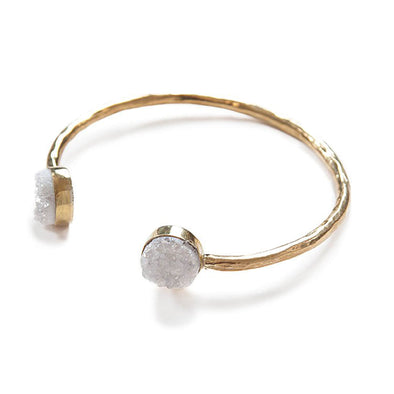 Astra Cuff Bracelet, Brass and Druzy, White