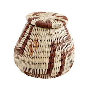 Vintage Handwoven Bayei Lidded Basket - Small, 4