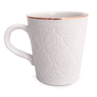 Handmade Moroccan Ceramic Mug - White and Gold Engraved