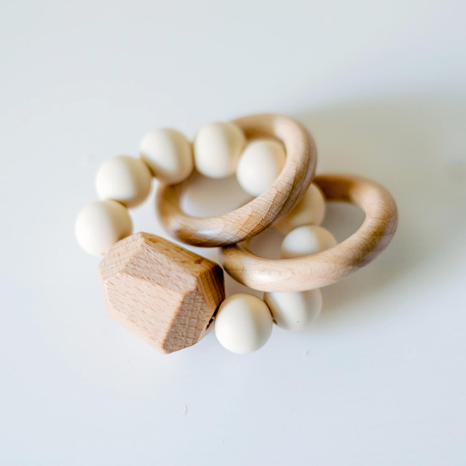 Silicone and Wood Teething Ring, Cream or Peach