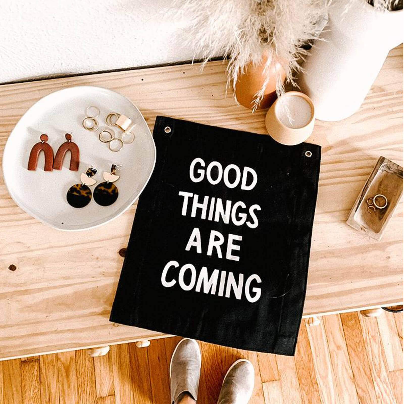 Good Things are Coming Banner, Black and White
