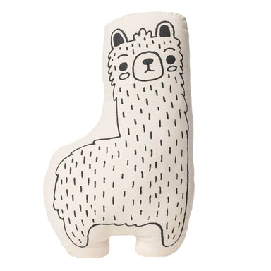 Handmade Llama Pillow, Cream and Black - Two Sizes