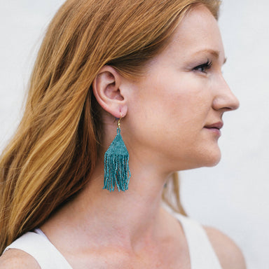 Beaded Triangle Fringe Earrings - Teal