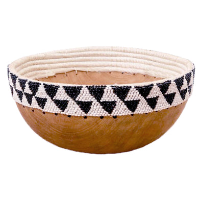 Hand Carved Wooden Bowl with Beaded Edges - Black and White Diamond