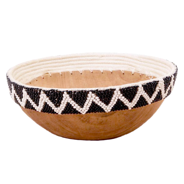 Hand Carved Wooden Bowl with Beaded Edges - Black and White Zig Zag
