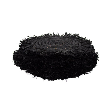 Hand Woven Coaster Set - Black Raffia with Fringe