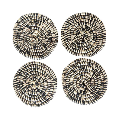 Hand Woven Coaster Set - Heathered Black and Natural Raffia