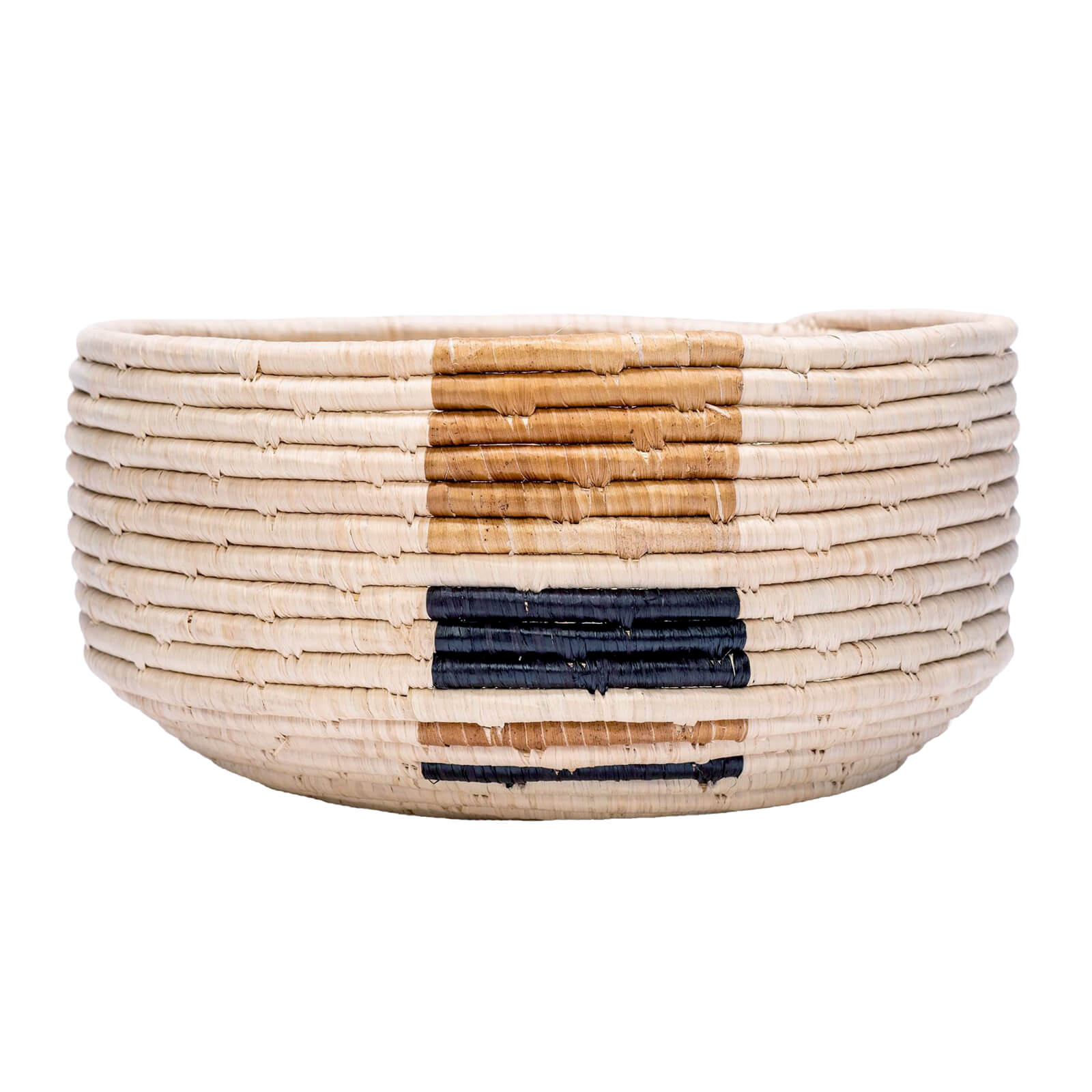 Deep Woven Bowl with Banana Leaf Accents - Medium