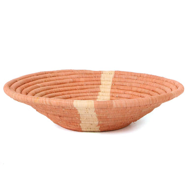 Hand Woven Plateau Raffia Basket, Large - Peach Stripe