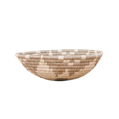 Small neutral woven basket made in Rwanda for organizing