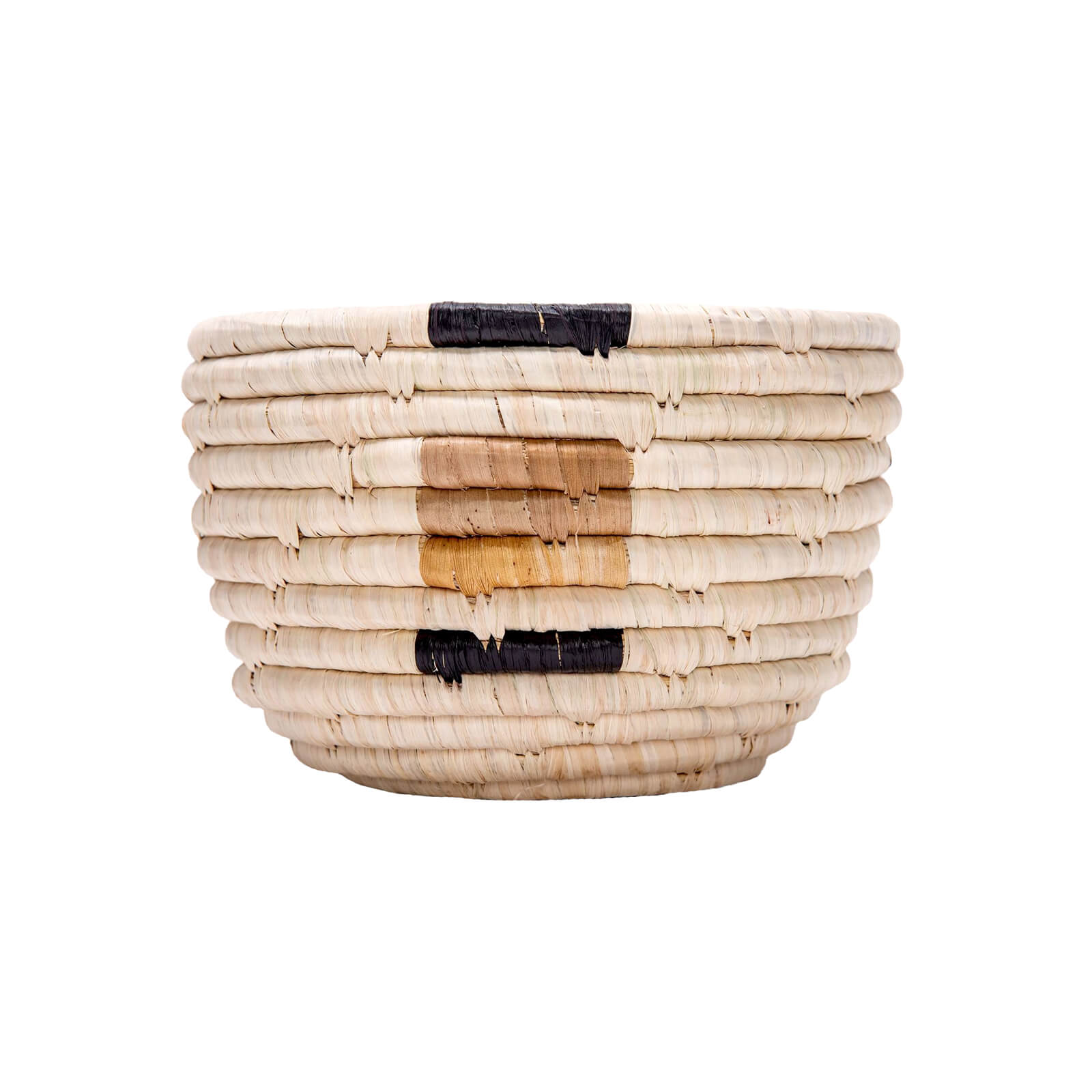 Deep Woven Bowl with Banana Leaf Accents - Small