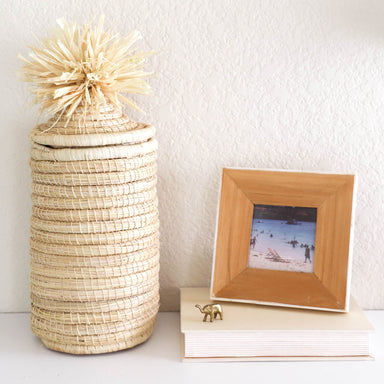 Hand Woven Tina Lidded Pom Pom Basket - Natural