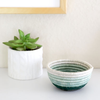 Hand Woven Tiny Catch-All Basket - Teal Ombré Stripe