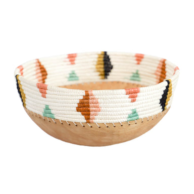 Hand Carved Wooden Bowl with Woven Edges - White Multicolor