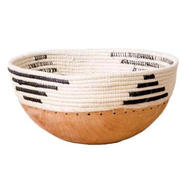 Hand Carved Wooden Bowl with Woven Edges - White and Black